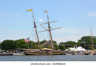 BAY CITY, MI - JULY 17: Visitors explore the Pride of Baltimore II at the Tall Ship Celebration in Bay City, MI on July 17, 2016.