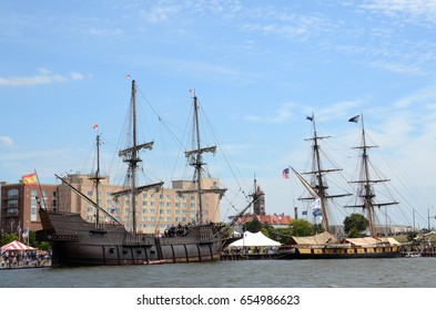 BAY CITY, MI - JULY 17: Visitors explore the The Galeon Andalucia, a replica of a Spanish Galleon, at the Tall Ship Celebration in Bay City, MI on July 17, 2016.