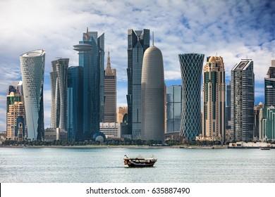 The bay of Doha, Qatar
