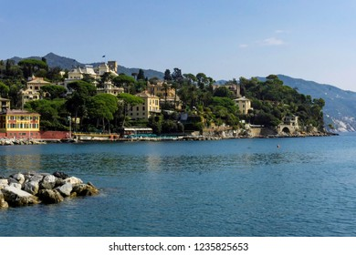 The bay and entrance to Porto Santa Margherita near Portofino Italy
