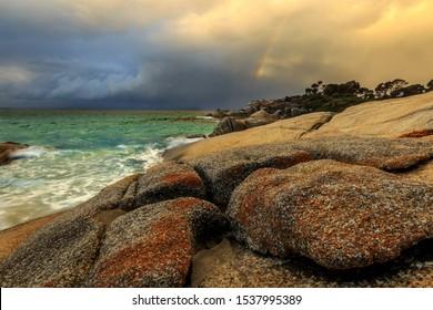 Bay of fires red sky sunrise, Tasmania
