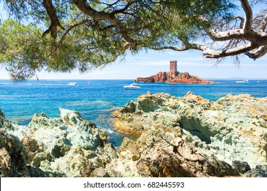 Bay at Frejus, Esterel massif, Cote d'Azur, French riviera, south france