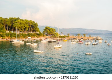 Bay full of ships in Krk town on island Krk in Croatia. Harbour full of ships in adriatic sea in Croatia. Travel and holiday concept.