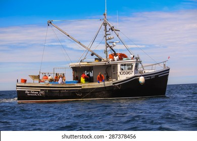 BAY OF FUNDY, NOVA SCOTIA-JUN 08, 2015:  Long ling fishermen out of Yarmouth use up to 1500 hooks on long line to catch halibut.