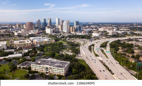 The bay is a good backgrooun for the downtown urban city center skyline of Tampa Florida
