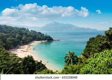 The bay of Kamala Beach in Phuket, Thailand.