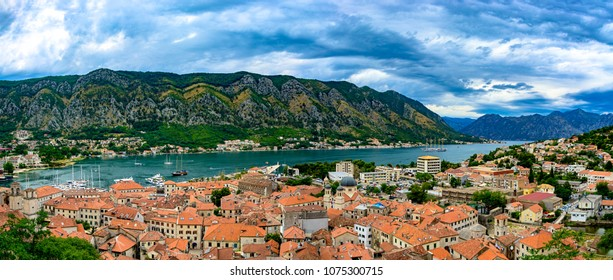 The Bay of Kotor Boka Kotorska , Montenegro. City under the protection of UNESCO. Panoramic view