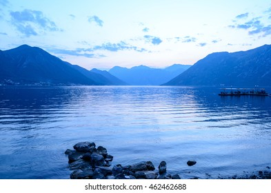 Bay of Kotor in the Evening. Panorama of Boka-Kotorska bay, Montenegro.