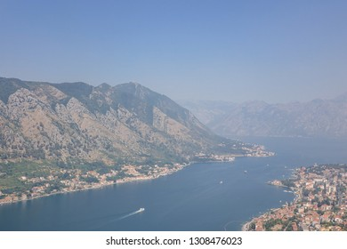 The Bay of Kotor, Montenegro. Kotor Bay is also known as Boka Bay. View taken from St. John Fortress in Old Town Kotor.
