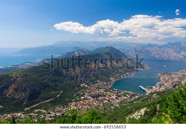 The Bay of Kotor in Montenegro from one of the highest viewpoints. An aerial top-view