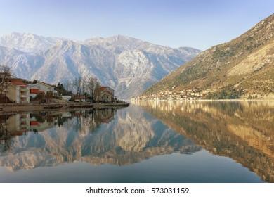 Bay of Kotor near seaside Stoliv village in the winter. Montenegro