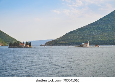 Bay of Kotor view of Sveti Dorde and Our Lady of the rocks church, Montenegro