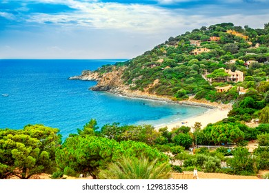 Bay at the Mediterranean sea in Torre delle Stelle, South Sardinia, Italy. Beaches and villas in Sardinia.