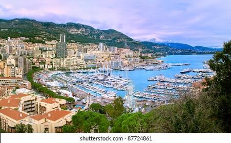 Bay of Monaco and Monte Carlo skyline