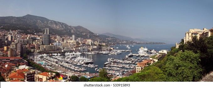 Bay in Monaco with yachts on a Sunny summer day