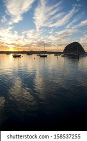 The bay in Morro Bay at sunset.