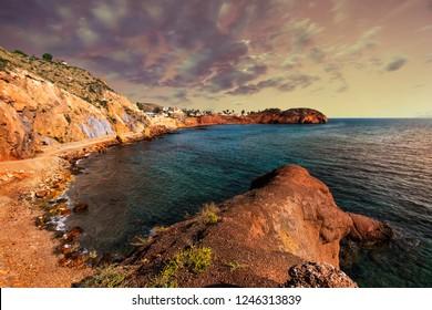 Bay of nudists. Nude beach along Mazaron. Mediterranean Sea, Murcia, Spain.