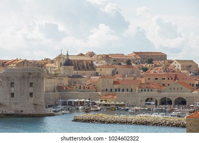 The bay and Old Town of Dubrovnik, Croatia.