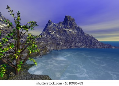 The bay on the island, 3D rendering, a rocky mountain, with a beautiful tree in the foreground, blue waters, and a cloudy sky.