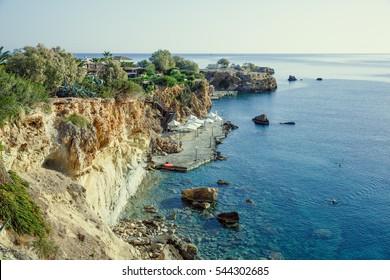 Bay on the island of Crete, Greece, Aegean Sea.