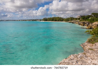 A bay overlooking the beautiful blue ocean in Barbados