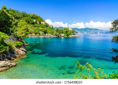 Bay of Paraggi in Santa Margherita Ligure with paradise white beach, close to Portofino. Mediterranean sea of Italy.