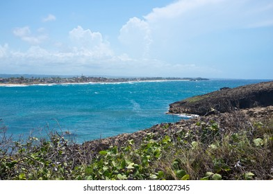 bay and point of atlantic ocean along north coast puerto rico near cueva del indio outside arecibo