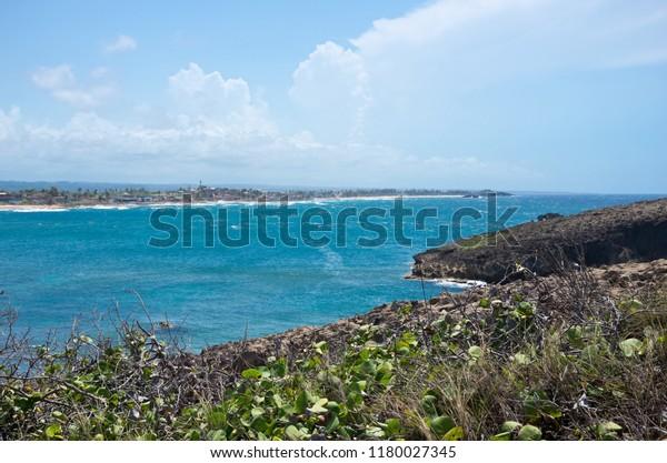 bay and point of atlantic ocean along north coast puerto rico near cueva del indio outside arecibo