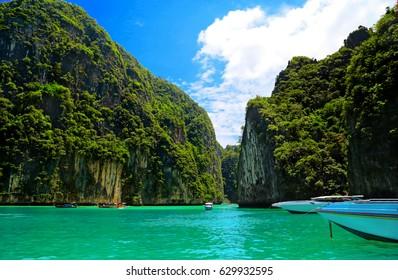 Bay, rocks, sea, boats, Thailand.