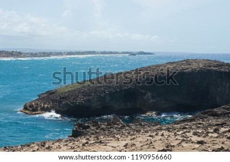 bay and rocky shoreline along north coast of puerto rico near cueva del indio
