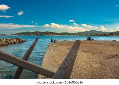 bay of San Tropez in southern France over the Mediterranean