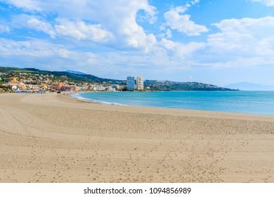 Bay with sandy beach near Sotogrande marina ,Costa del Sol, Spain