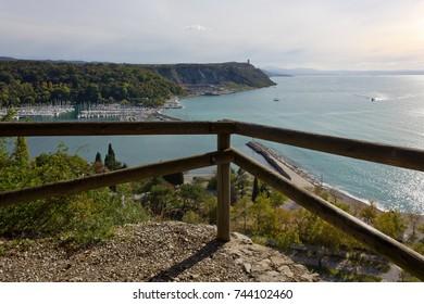 Bay of Sistiana near Trieste, Italy, in autumn, seen from the Rilke trail