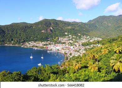 bay of soufrière, st. lucia, caribbean