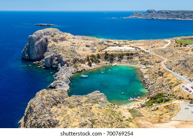 Bay of St. Paul. View from the acropolis of the city of Lindos. Rhodes Island, Greece