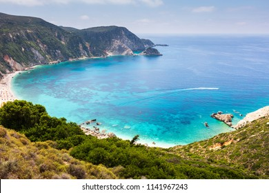 Bay of turquoise water with amazing sandy beach