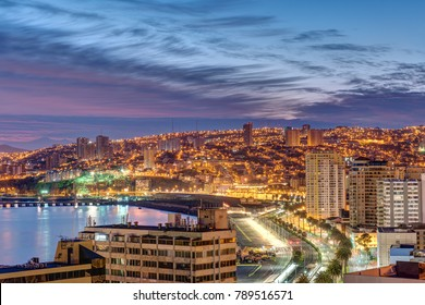 The bay of Valparaiso in Chile at dusk