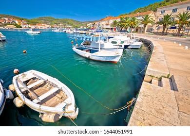 Bay of Vela Luka on Korcula island waterfront view, archipelago of southern Dalmatia, Croatia
