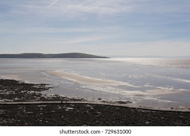 The bay of Weston-super-Mare at low tide, looking towards Brean Down from near Birnbeck Pier Island. Somerset, UK, circa 2005