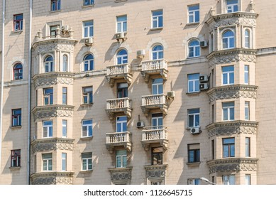 Bay Windows and balconies of the ten-storey brick residential apartment house on Prospekt Mira was Built in 1959. Moscow, Russia