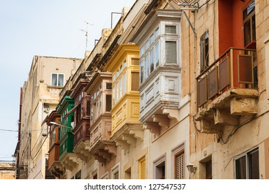 Bay windows (erkers) - typical architectural feature in Sliema, Malta