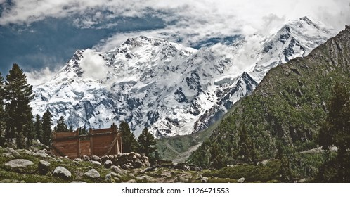 Bayal Camp, Pakistan - July 2017:  Life at Bayal Camp, Heaven on Earth with Nanga Parbat  (The Killer Mountain) in the background.