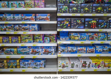 Bayan Lepas, Pulau Pinang, Malaysia - June 8 2019: Authentic Lego brick sets sell on the rack side by side with Lego clone or imitation products which is 5x  lower in price at Tesco in Asia countries.