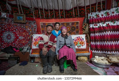Bayan Olgii, Mongolia, 29th September 2015: Mongoilian Kazakh nomad family in their home yurt in western Mongolia