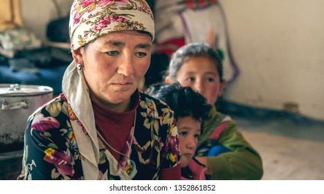 bayan Ulgii, Mongolia, 1st October 2015: mongolian nomad mother and her kids in their home
