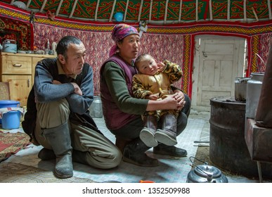 bayan Ulgii, Mongolia, 28th September 2015: mongolian nomad family in their home yurt