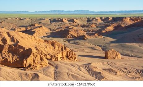 Bayanzag flaming cliffs is a canyon near gobi desert in Mongolia