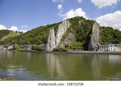 Bayard Rock in city Dinant, Walloon region, Belgium.