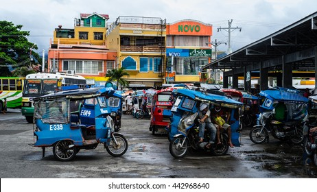 BAYBAY CITY, THE PHILIPPINES - December 8, 2015: A view of the central bus station in Baybay City, the Philippines on December 8, 2015.