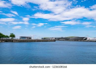 "Baybridge and International Passenger Terminal ""Osanbashi Yokohama"" in Yokohama City, Kanagawa Prefecture, Japan."